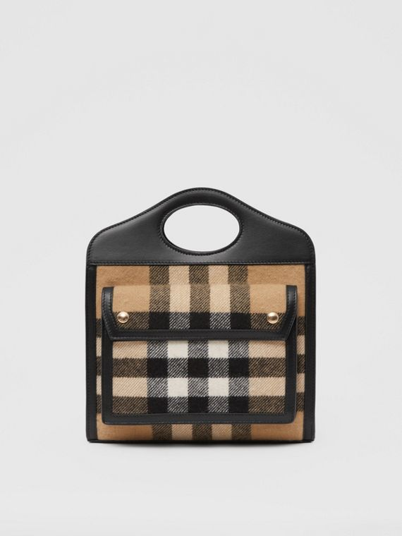 Mini Check Cashmere and Leather Pocket Bag in Archive Beige