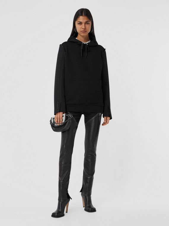 Cotton and Wool Reconstructed Oversized Hoodie in Black
