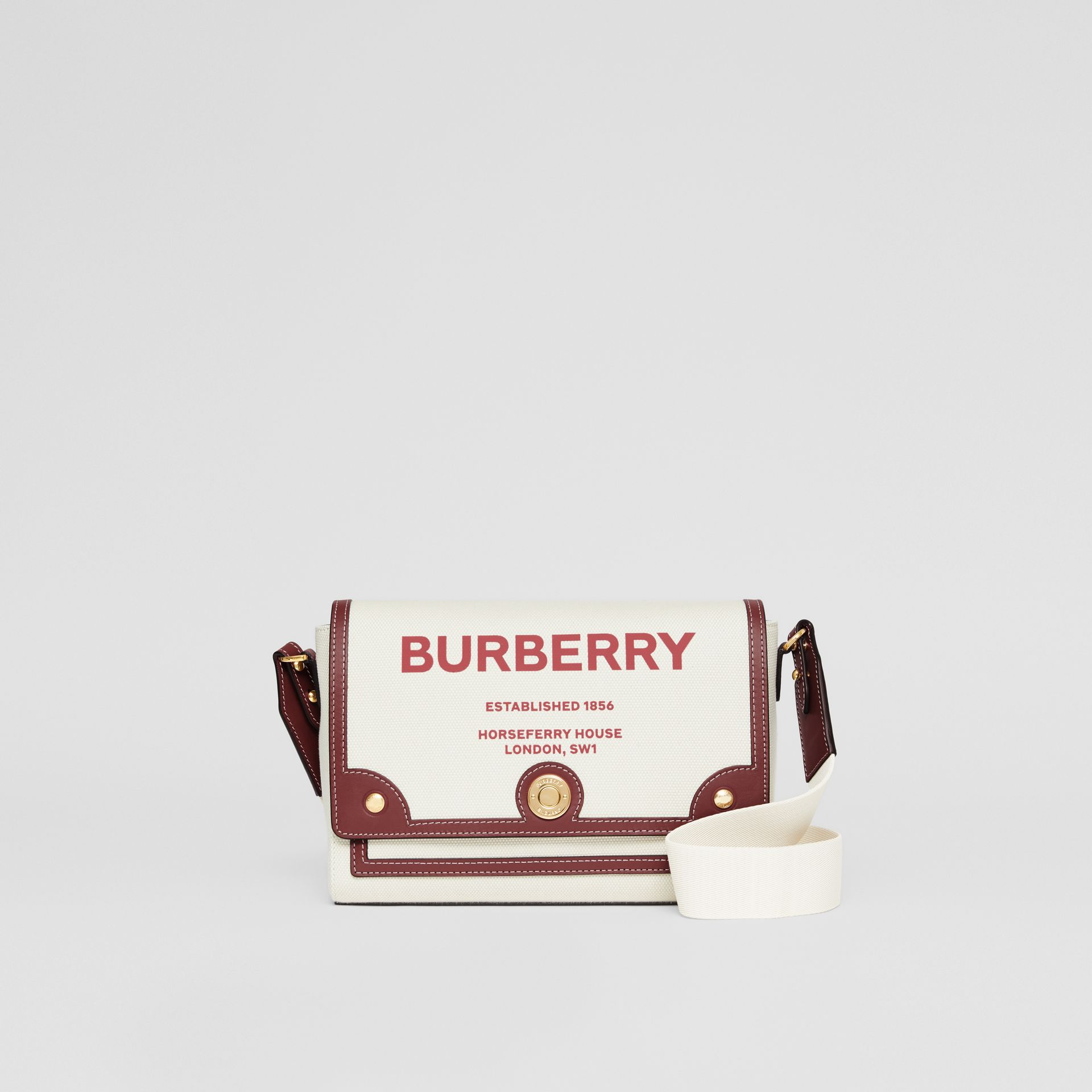 Horseferry Print Canvas Note Crossbody Bag in Natural/garnet - Women | Burberry Canada - gallery image 0