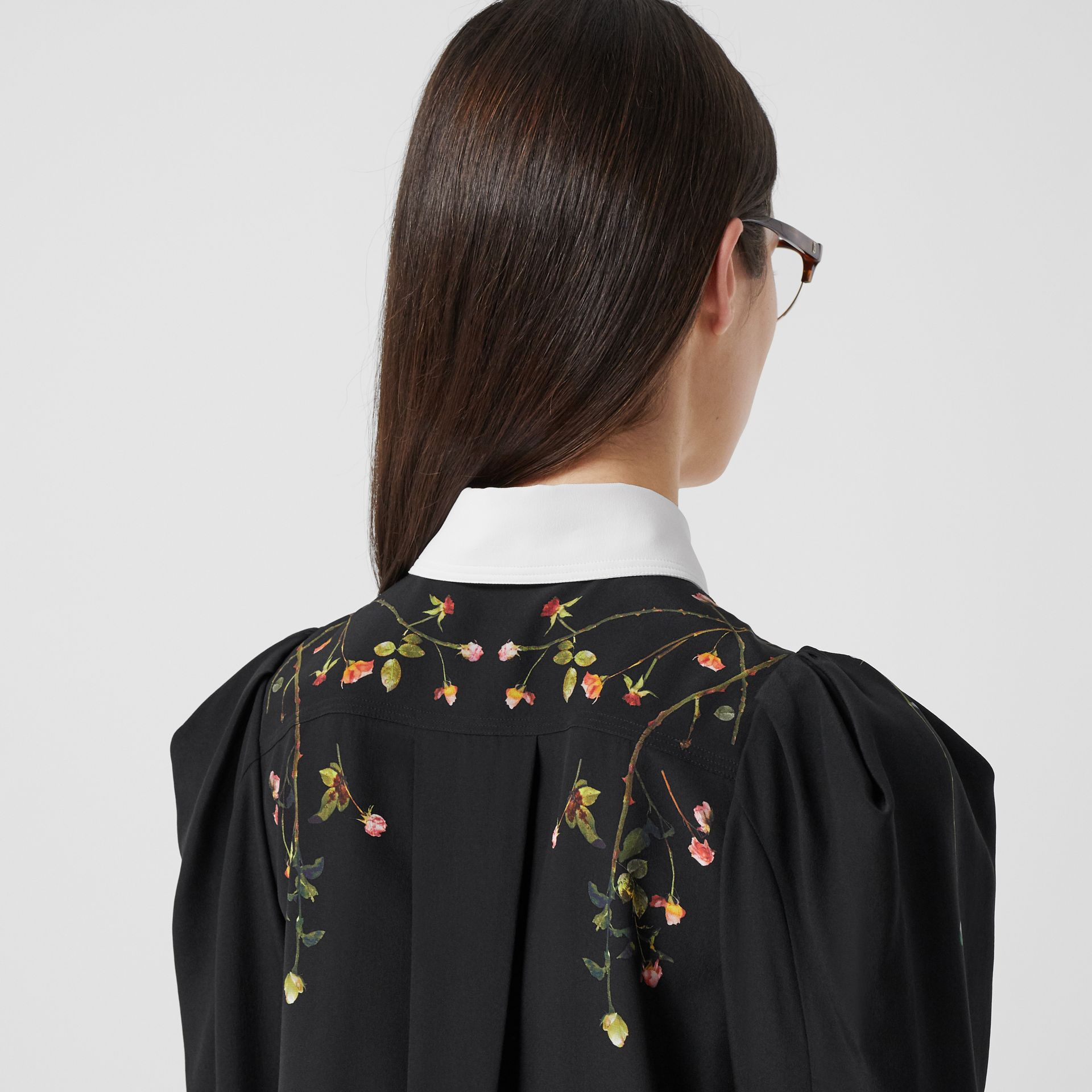 Rose Print Silk Crepe De Chine Shirt Dress in Black - Women | Burberry - gallery image 5