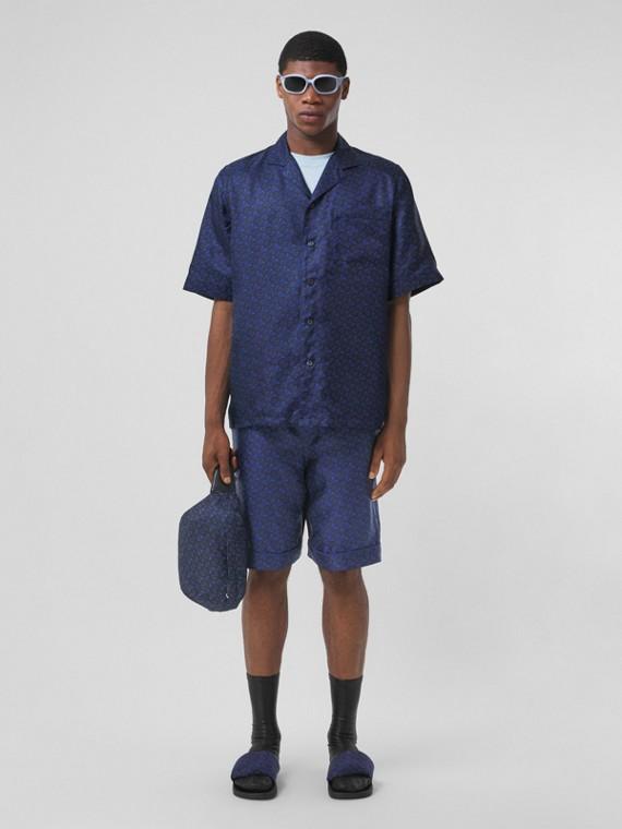 Camicia in seta a maniche corte con stampa monogramma (Blu Reale Scuro)