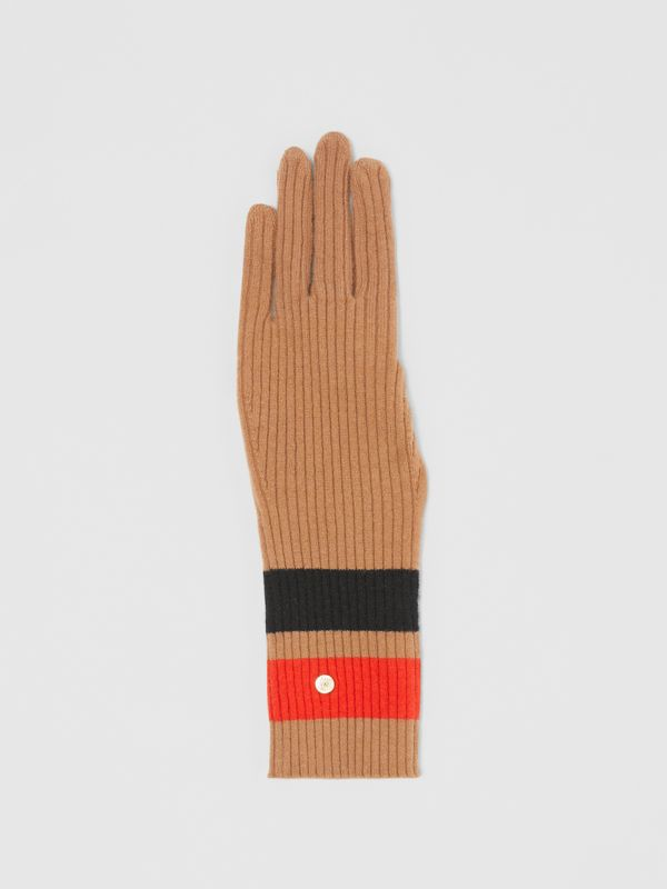 Monogram Motif Merino Wool Cashmere Gloves in Warm Camel | Burberry - cell image 2