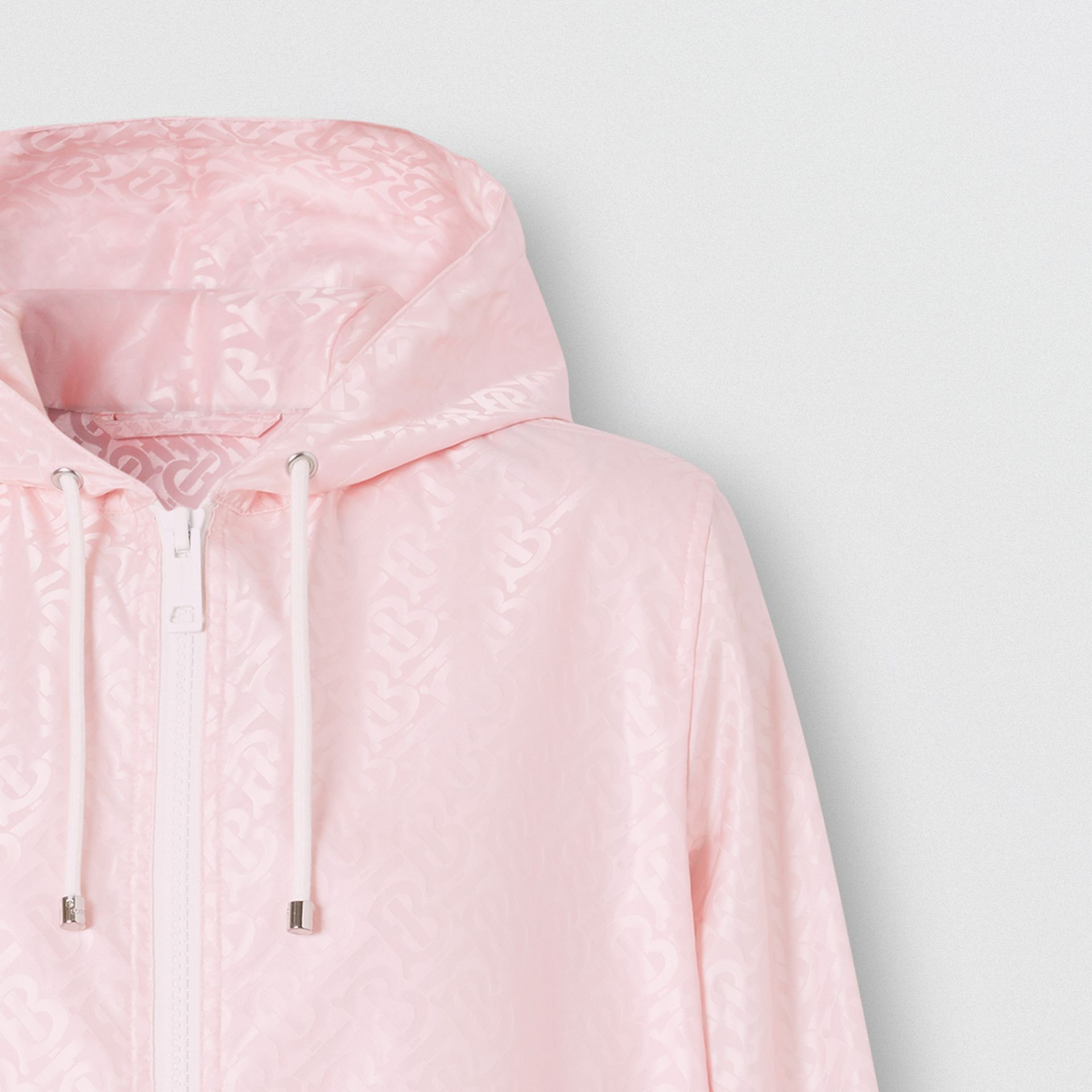 Monogram ECONYL® Jacquard Hooded Jacket in Cloud Pink - Women | Burberry - gallery image 1