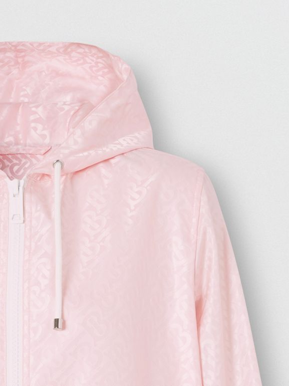 Monogram ECONYL® Jacquard Hooded Jacket in Cloud Pink - Women | Burberry - cell image 1