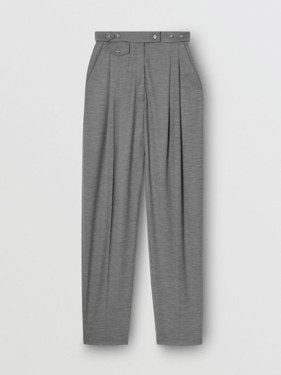 Cut-out Detail Wool Jersey Tailored Trousers in Cloud Grey