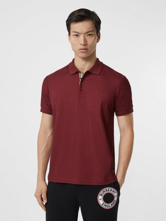 Monogram Motif Cotton Piqué Polo Shirt in Garnet