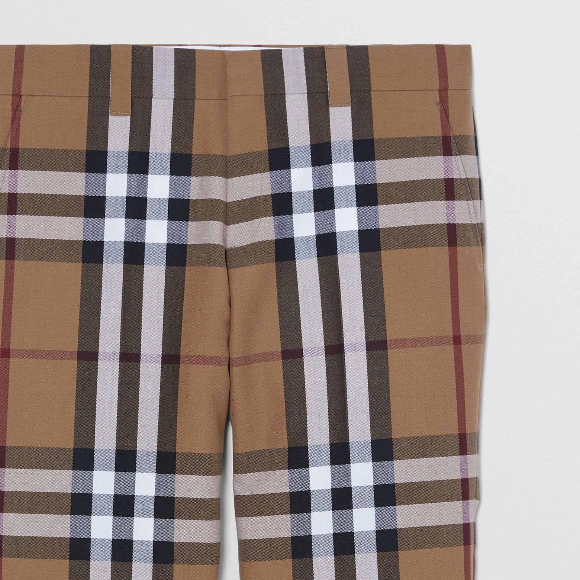 Check Wool Cropped Tailored Trousers in Birch Brown - Men | Burberry - gallery image 1