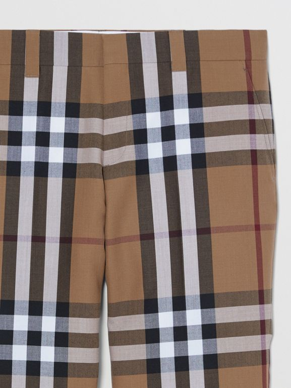 Check Wool Cropped Tailored Trousers in Birch Brown - Men | Burberry - cell image 1