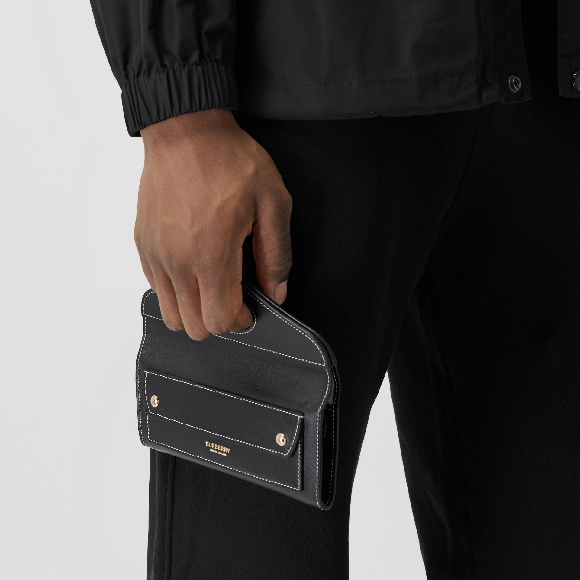 Mini Topstitched Lambskin Pocket Clutch in Black | Burberry - gallery image 12