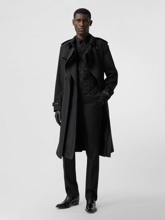 Wool Twill Loop-back Trench Coat in Black
