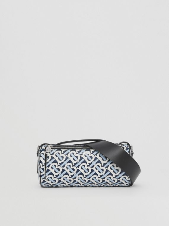 The Monogram Print E-canvas Barrel Bag in Cobalt/white