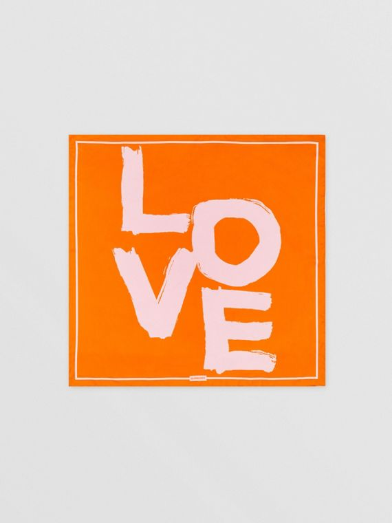LOVE 프린트 실크 스퀘어 스카프 (오렌지/옐로)
