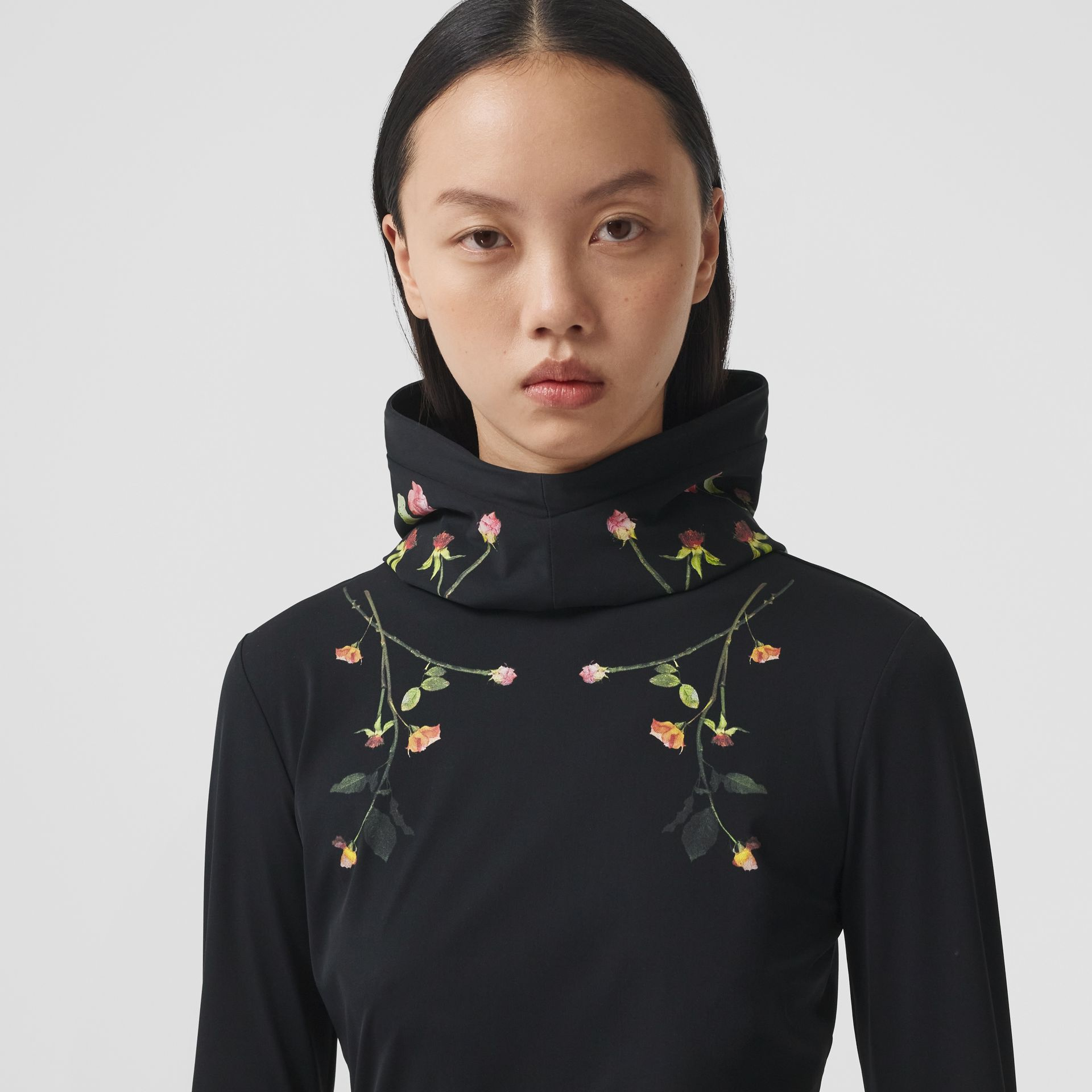 Rose Print Stretch Jersey Hooded Top in Black - Women | Burberry - gallery image 1