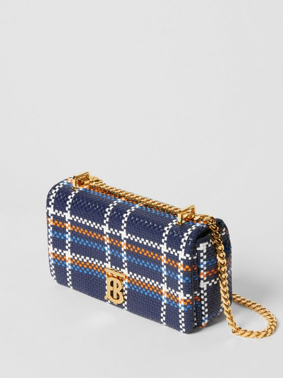 Small Latticed Leather Lola Bag in Blue/white/orange - Women | Burberry Canada - cell image 1
