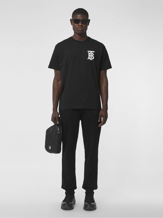Monogram Motif Cotton Oversized T-shirt in Black