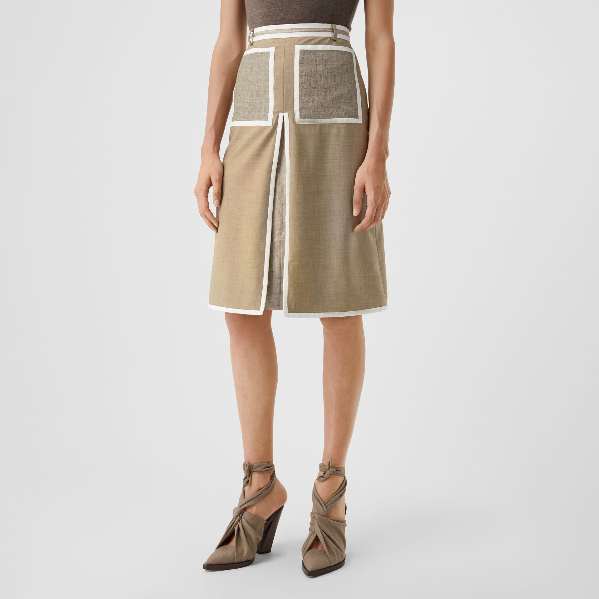Box-pleat Detail Wool Cashmere A-line Skirt in Pecan Melange - Women | Burberry - gallery image 4