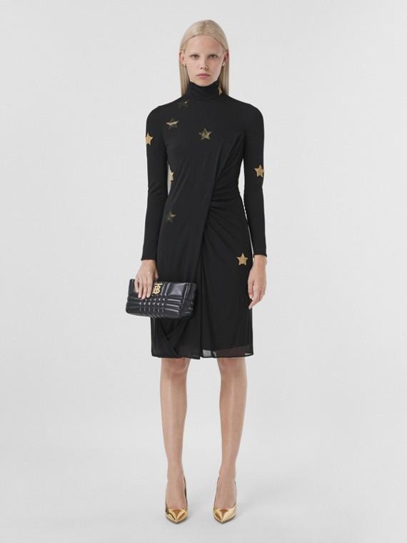 Long-sleeve Star Motif Gathered Silk Viscose Dress in Black