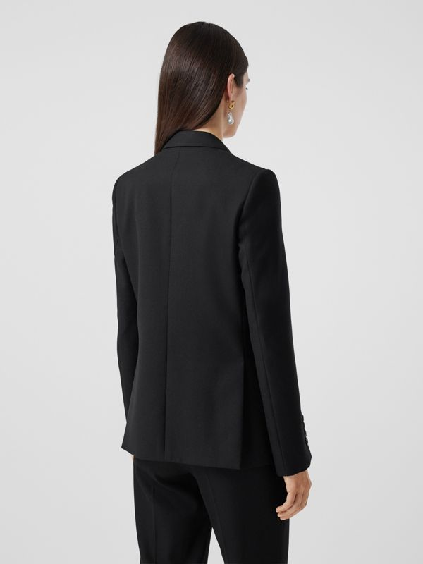 Jersey Sash Detail Wool Tailored Jacket in Black - Women | Burberry - cell image 2