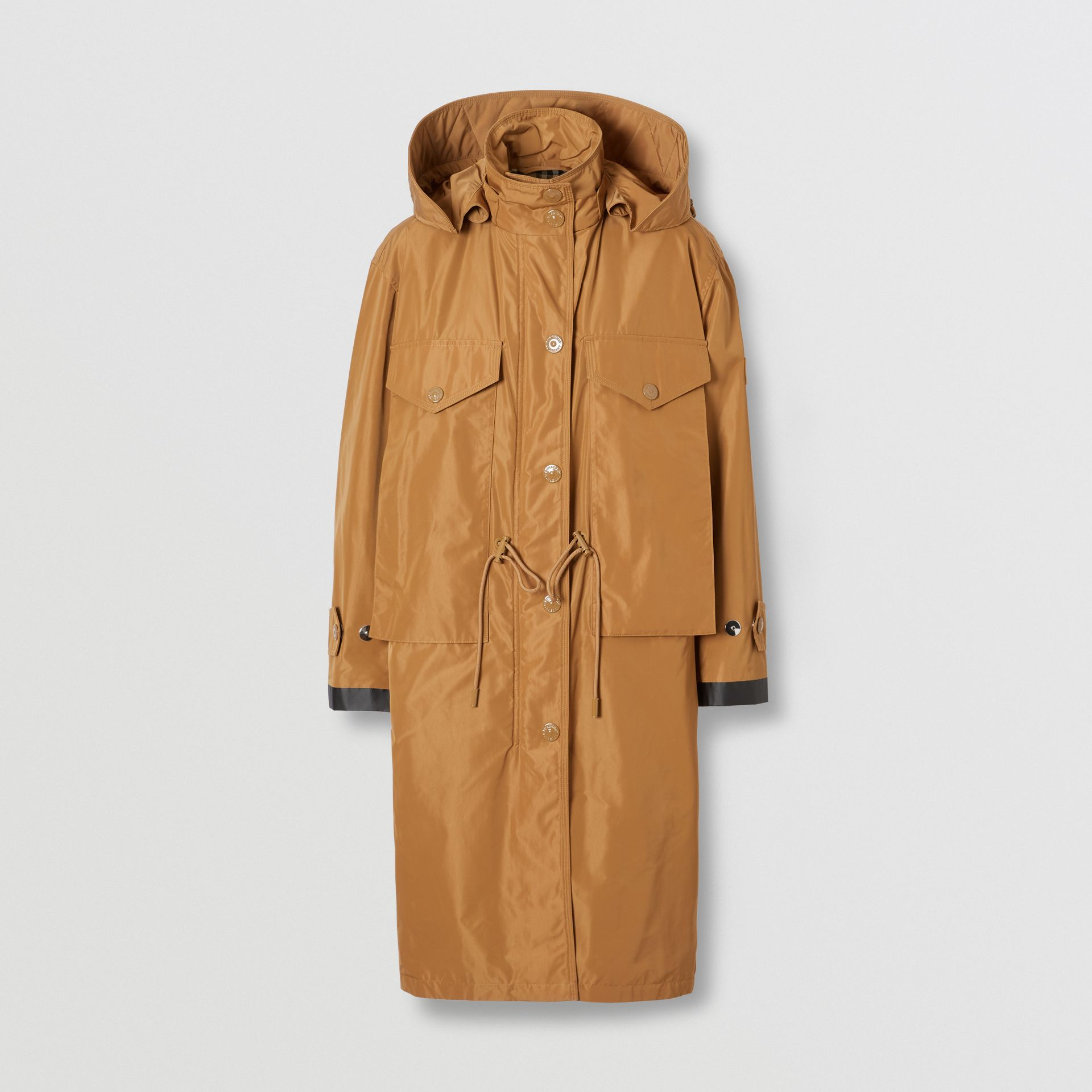 Detachable Hood Shape-memory Taffeta Parka in Camel - Women | Burberry - gallery image 3