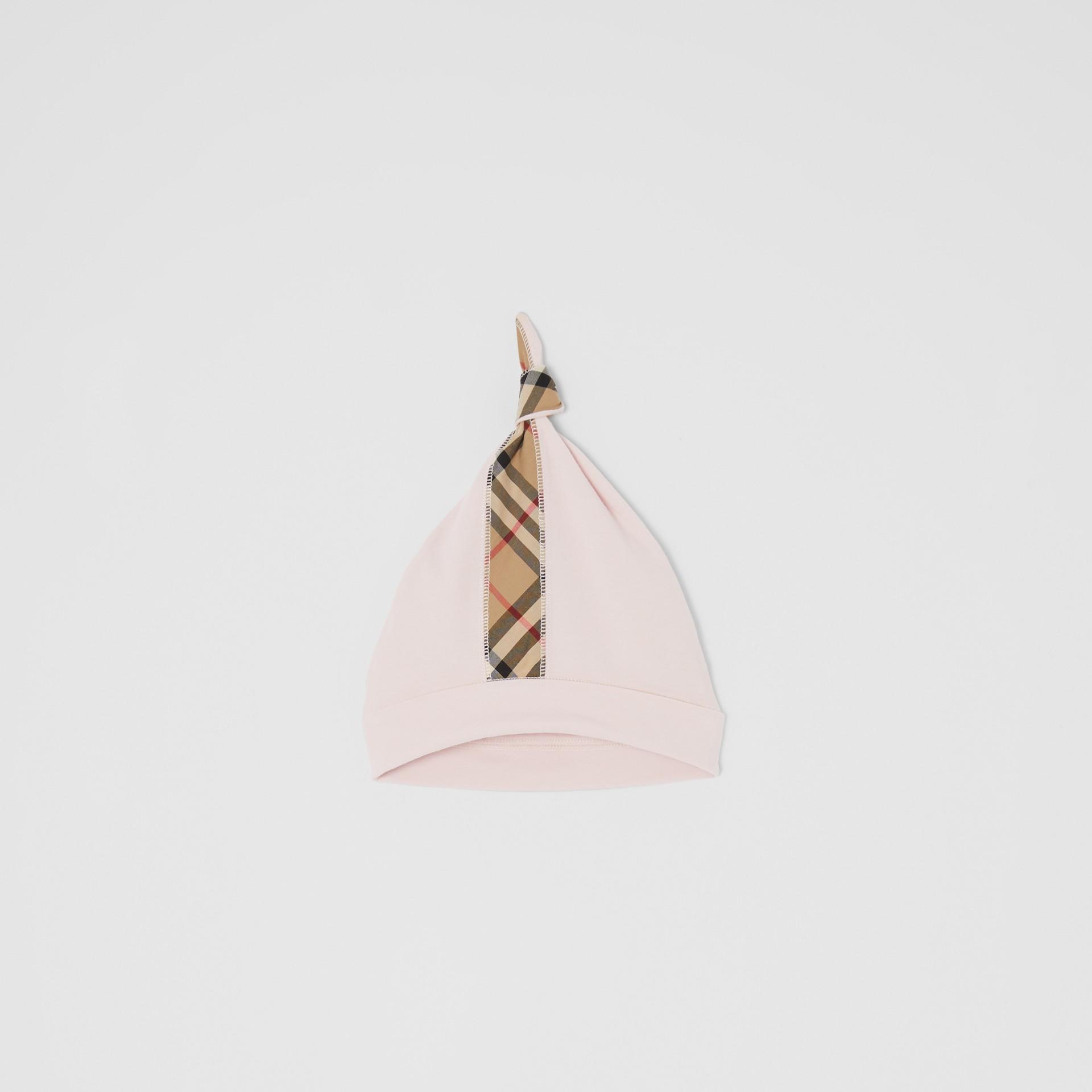 Gift set para bebê com três peças em algodão orgânico com detalhe xadrez (Rosa Gelo) - Crianças | Burberry - galeria de imagens 3