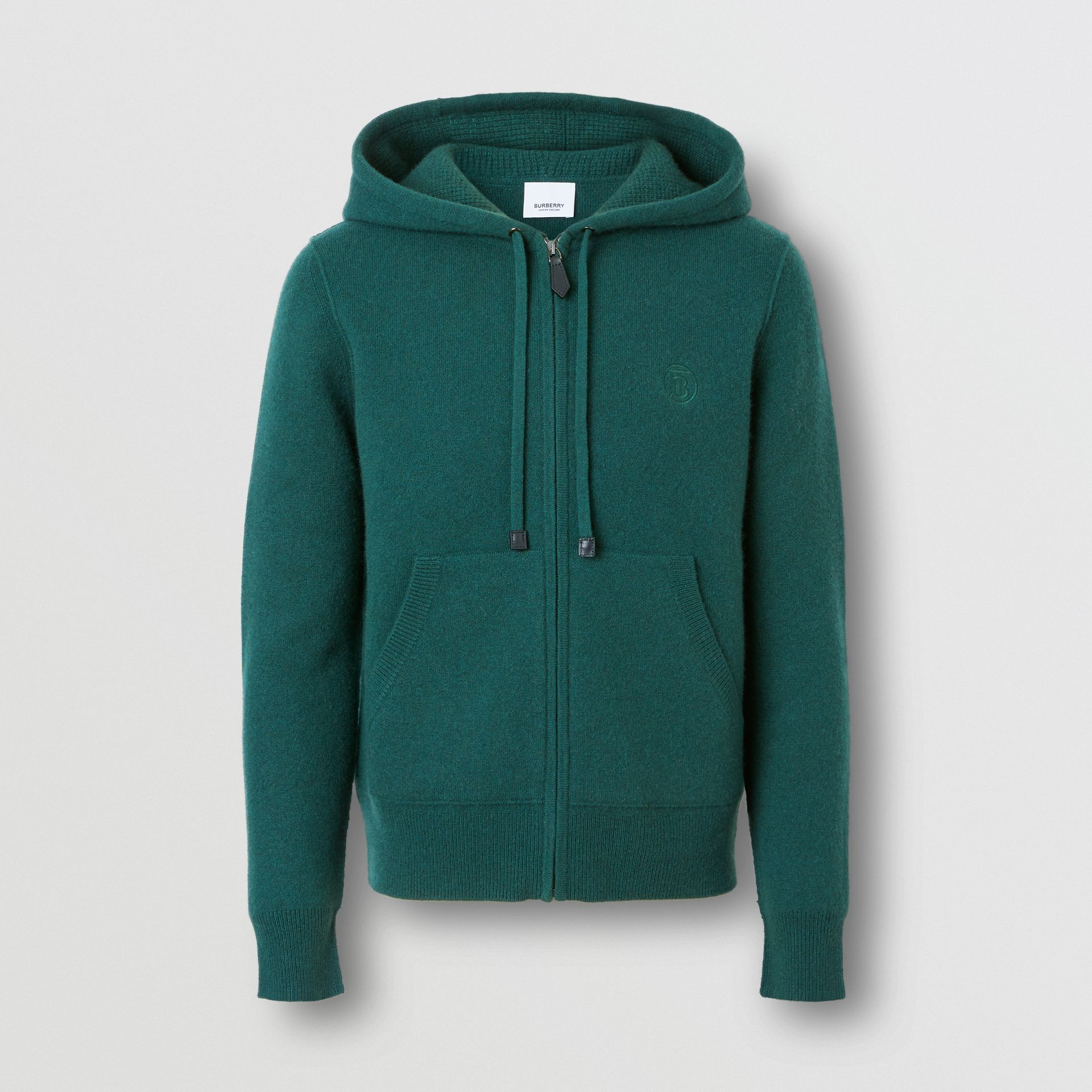 Monogram Motif Cashmere Blend Hooded Top in Bottle Green - Women | Burberry - gallery image 3