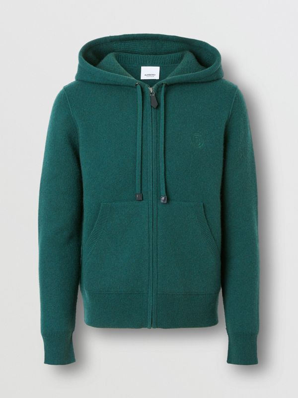 Monogram Motif Cashmere Blend Hooded Top in Bottle Green - Women | Burberry - cell image 3