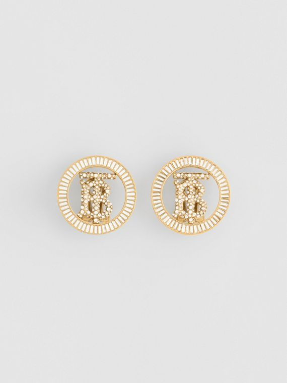 Crystal Detail Gold-plated Monogram Motif Earrings in Light Gold/crystal