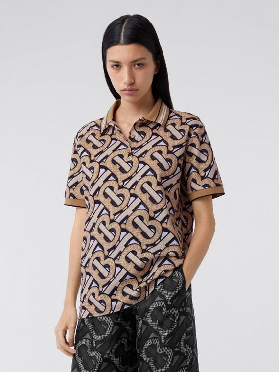 Monogram Print Cotton Piqué Polo Shirt – Unisex in Dark Beige