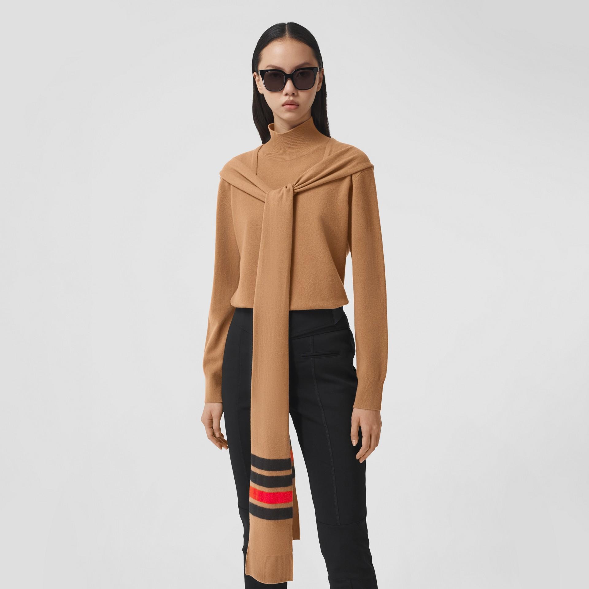 Striped Scarf Detail Merino Wool Cashmere Sweater in Beige - Women | Burberry - gallery image 4