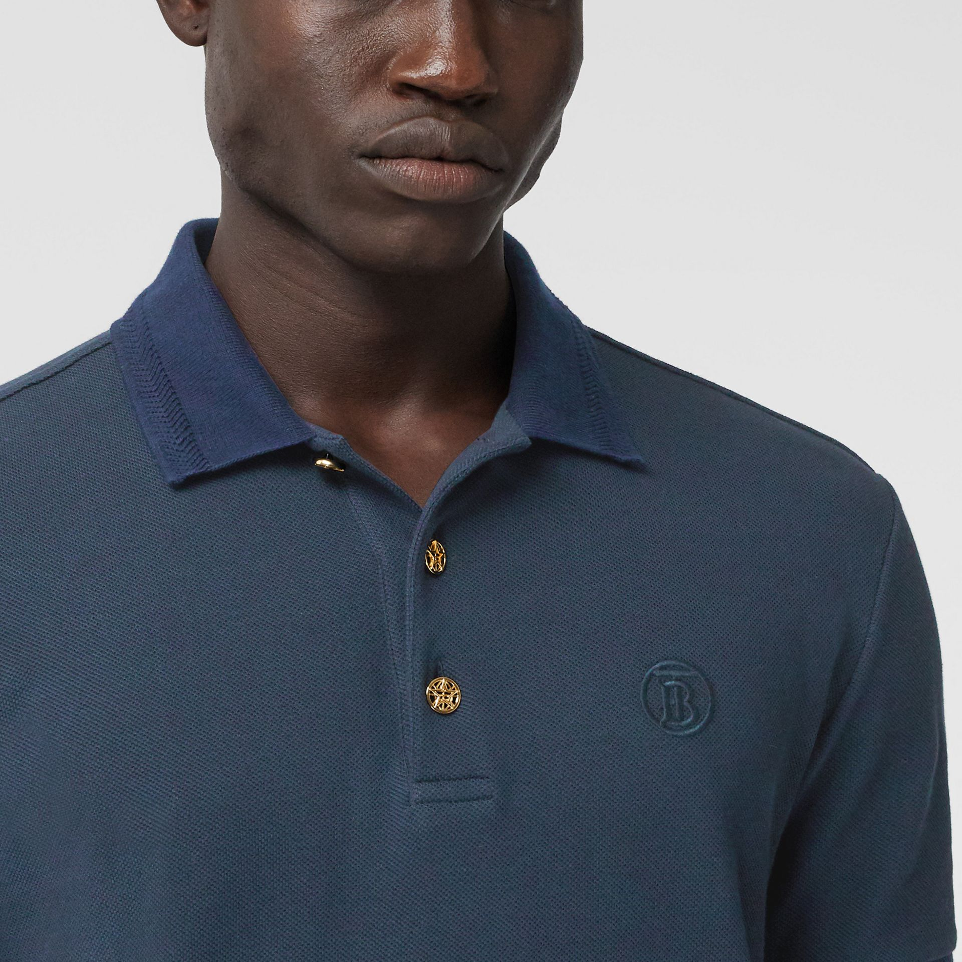 Button Detail Cotton Piqué Polo Shirt in Navy - Men | Burberry - gallery image 1