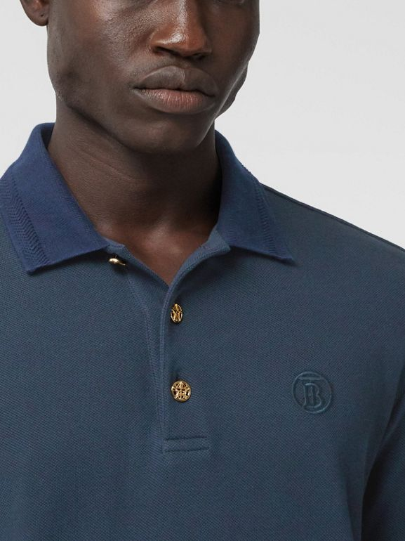 Button Detail Cotton Piqué Polo Shirt in Navy - Men | Burberry - cell image 1