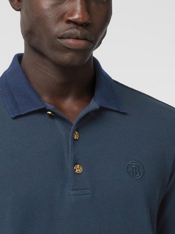 Button Detail Cotton Piqué Polo Shirt in Navy - Men | Burberry Hong Kong S.A.R. - cell image 1