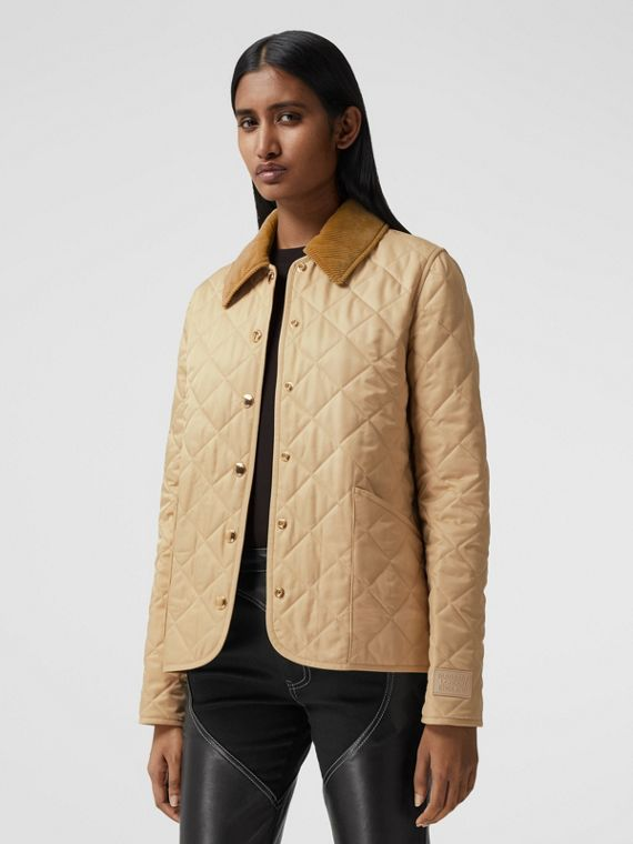 Corduroy Collar Diamond Quilted Jacket in Soft Fawn