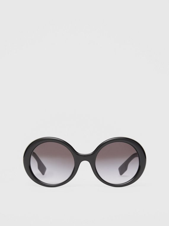 Oversized Round Frame Sunglasses in Black