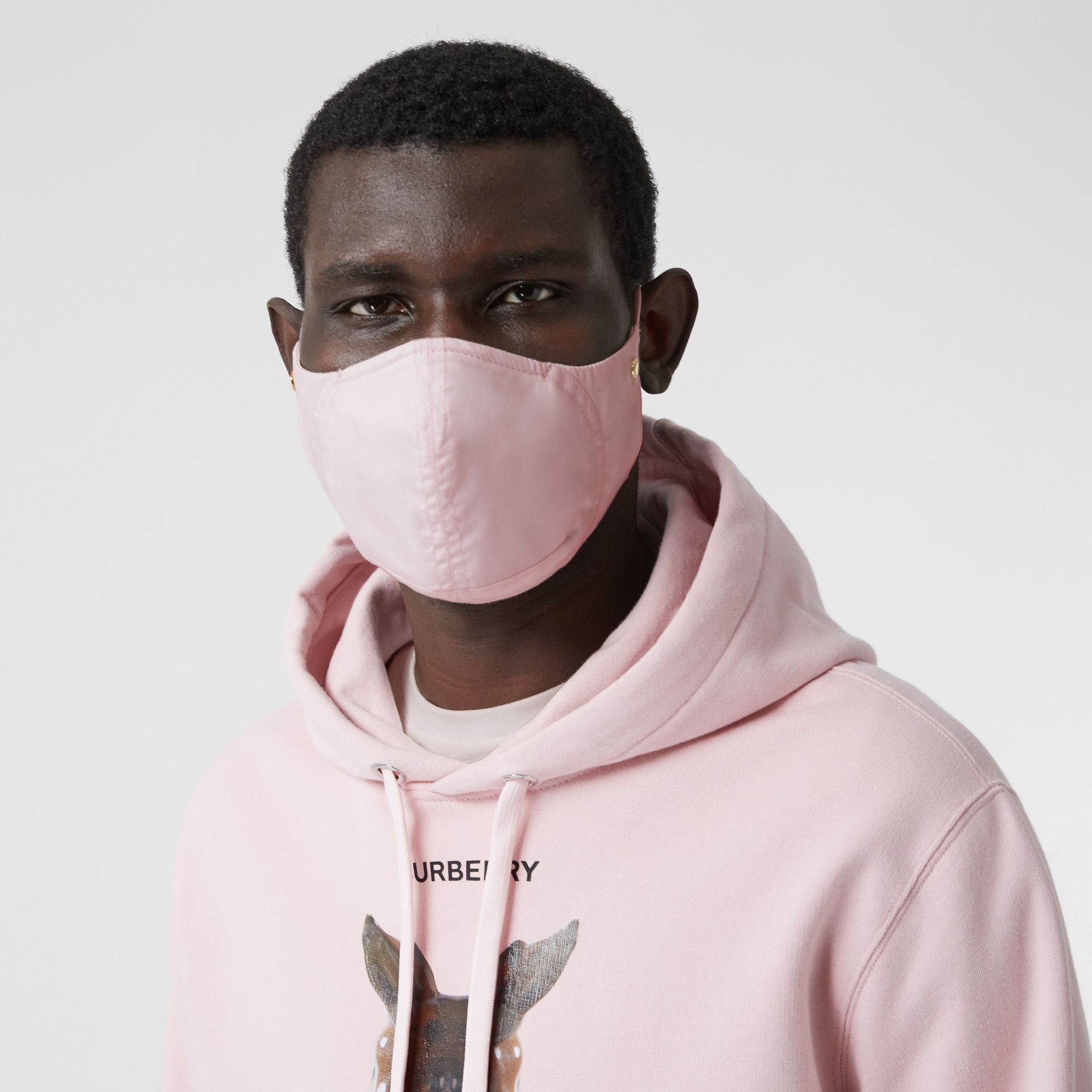 Logo Detail Cotton Face Mask in Alabaster Pink | Burberry - gallery image 3
