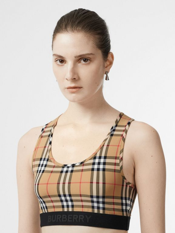 Logo Detail Vintage Check Bra Top in Antique Yellow - Women | Burberry United States - cell image 1