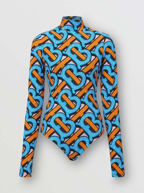 Monogram Print Stretch Nylon Turtleneck Bodysuit in Bright Cobalt