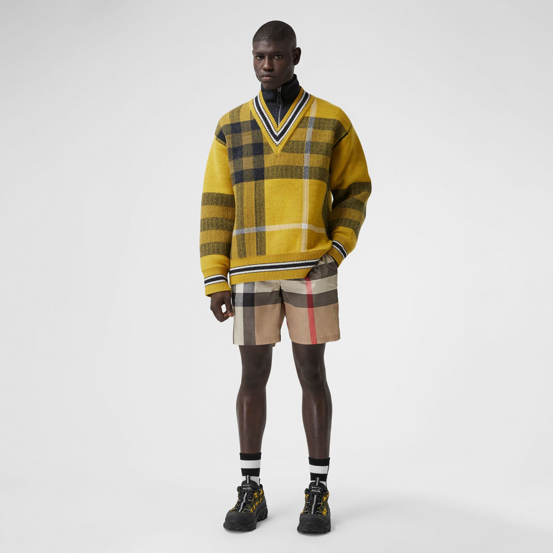 Check Wool Cashmere Jacquard Sweater in Bright Yellow - Men | Burberry - gallery image 4