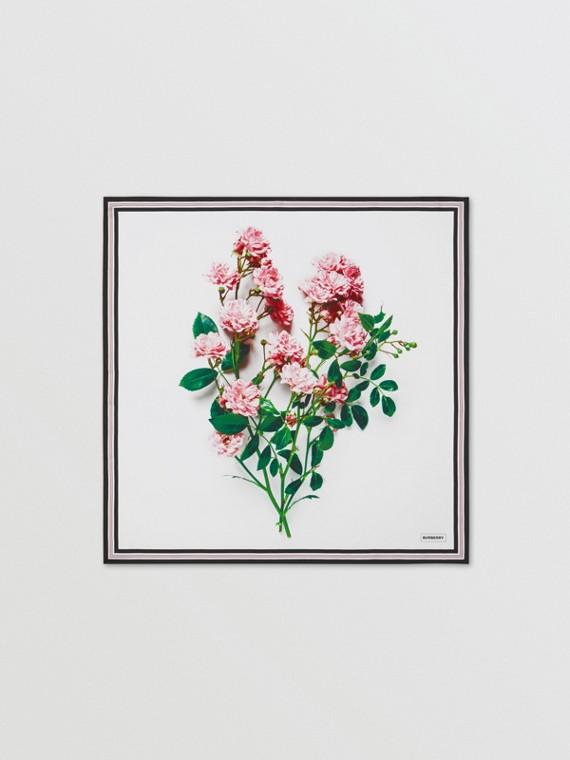 花朵印花絲綢方巾 – 官網限定版 (玫瑰粉紅)