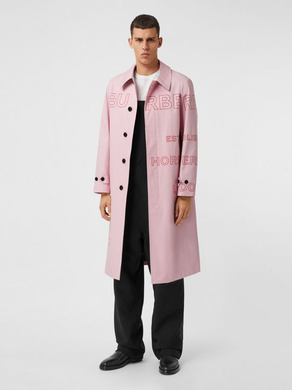 Horseferry Print Cotton Gabardine Car Coat in Light Pink