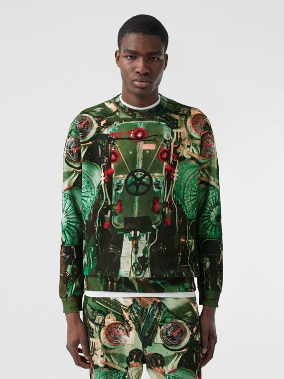 Submarine Print Cotton Sweatshirt in Celadon Green