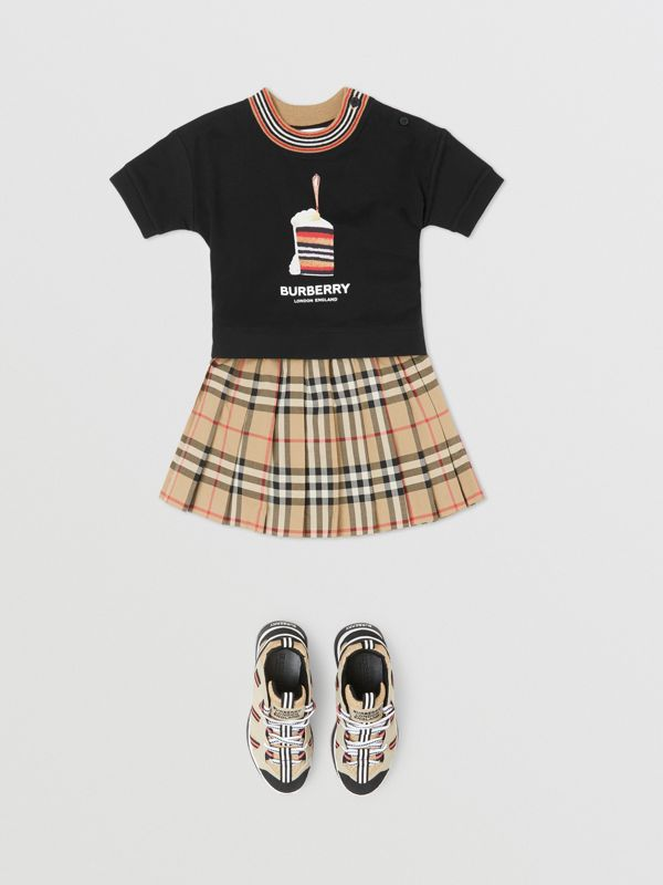 Cake Print Cotton T-shirt in Black - Children | Burberry - cell image 2