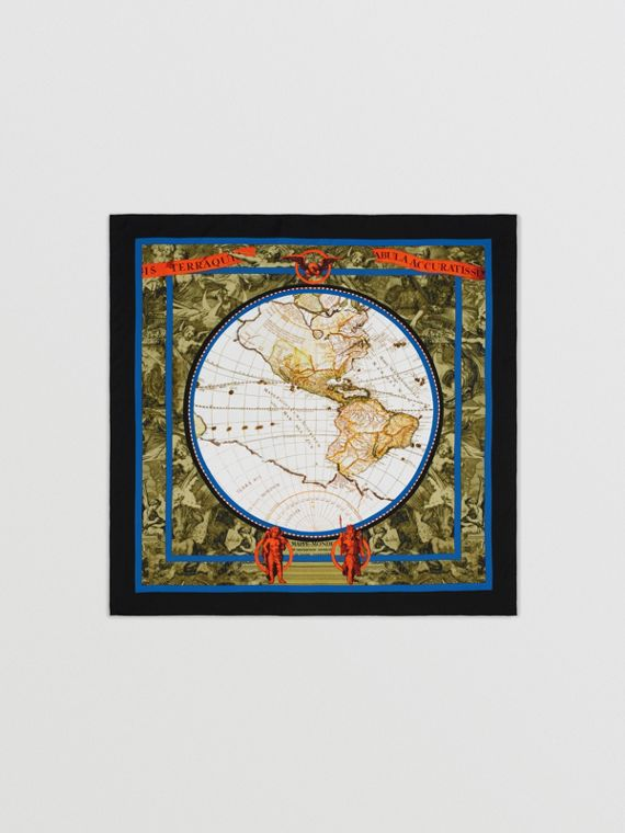 Map Print Silk Square Scarf in Multicolour