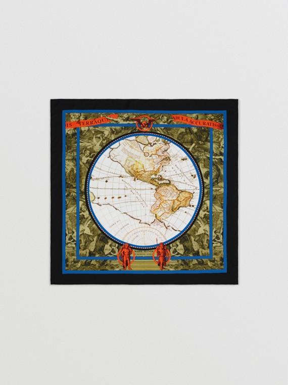 Seidenkarreeschal mit Kartenmotiv (Mehrfarbig)