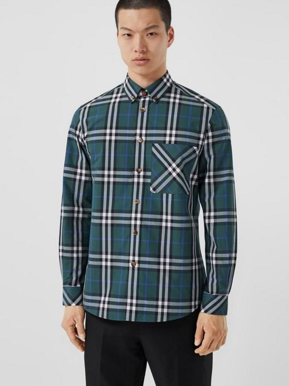 Camisa de popeline de algodão com estampa xadrez (Verde Floresta Escuro)