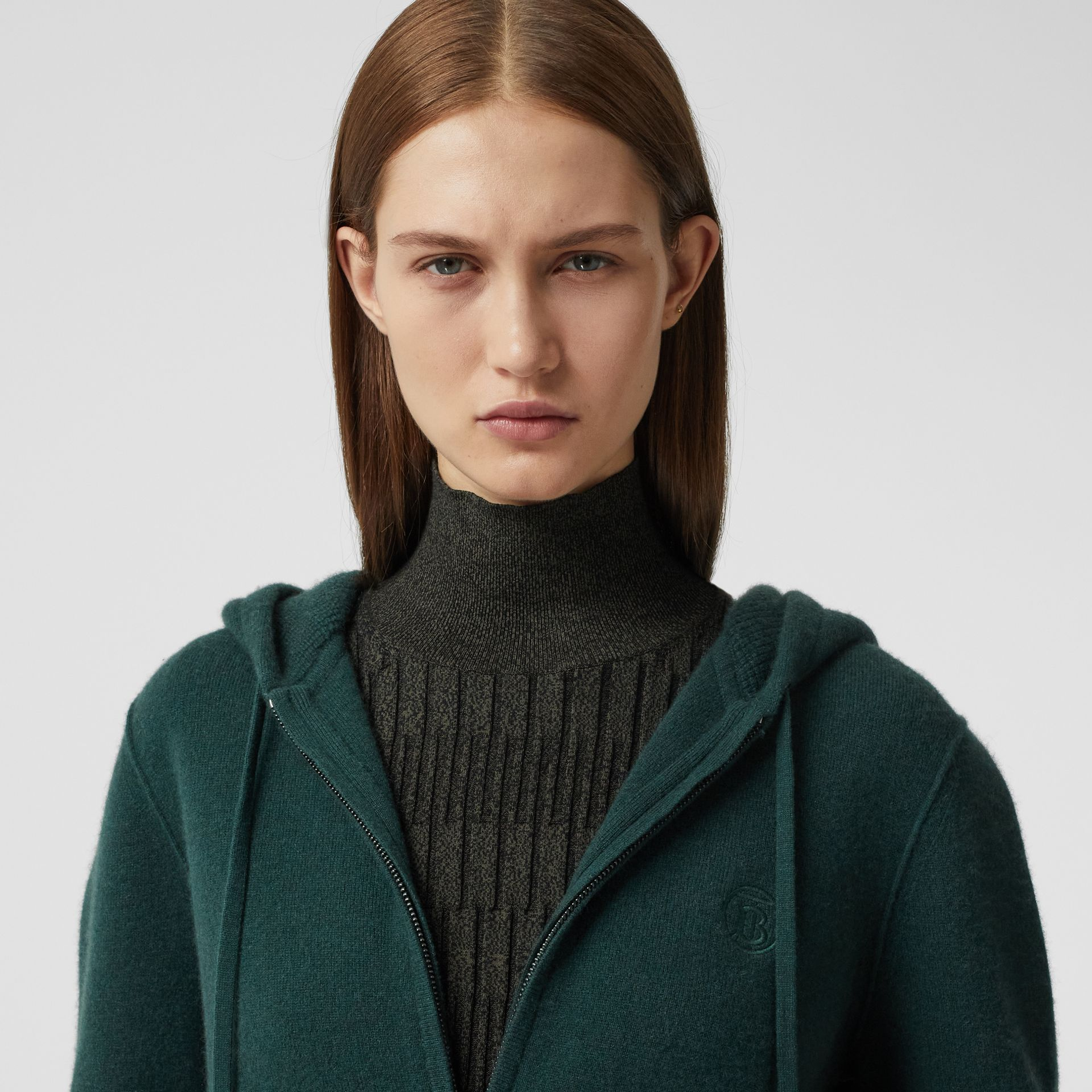 Monogram Motif Cashmere Blend Hooded Top in Bottle Green - Women | Burberry - gallery image 1