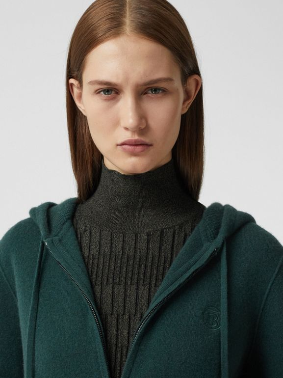 Monogram Motif Cashmere Blend Hooded Top in Bottle Green - Women | Burberry - cell image 1