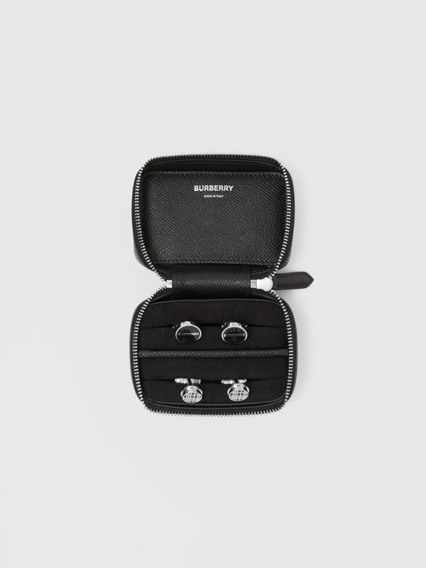 Icon Stripe Print Grainy Leather Cufflink Case in Black - Men | Burberry - cell image 3