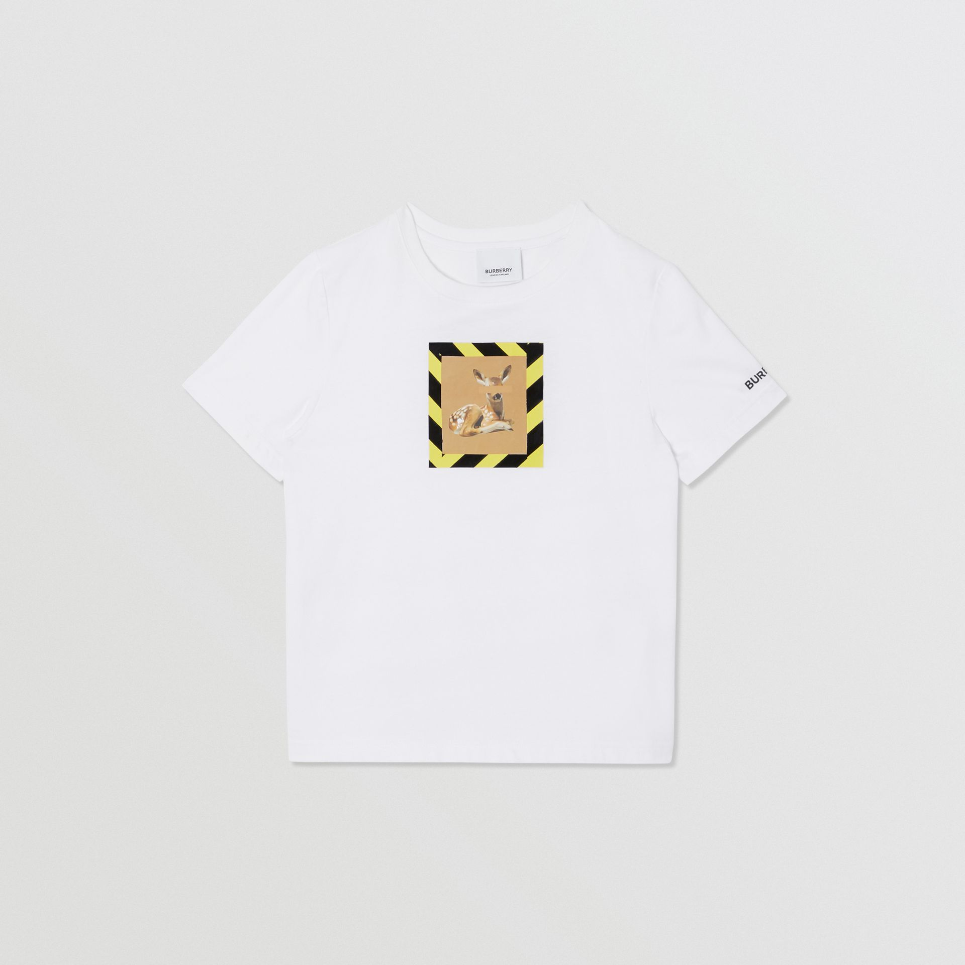 Deer Print Cotton T-shirt in White | Burberry United States - gallery image 0