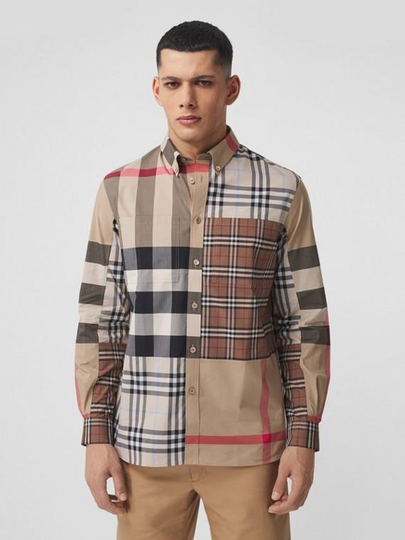 Camisa de popeline de algodão stretch com xadrez contrastante (Amêndoa Claro)